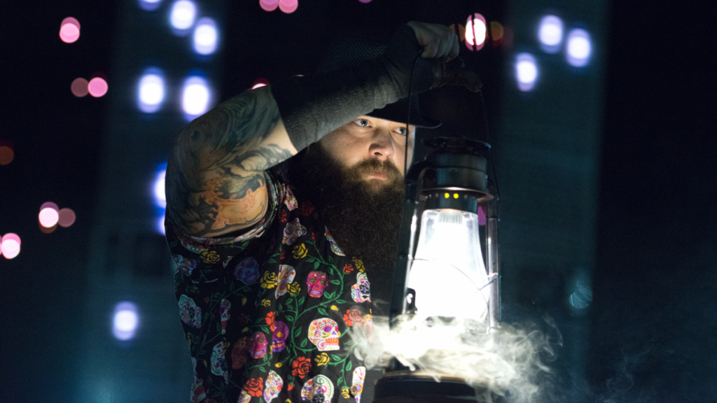 WWE Superstar Bray Wyatt entries in the ring with his popular style.