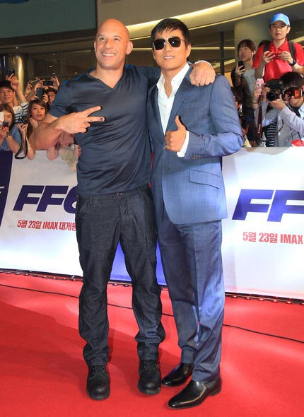 "Sung Kang and Vin Diesel picture of ""Fast & Furious 6"" Premiere in South Korea"