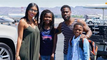 actor Kevin Hart with his wife, son & daughter