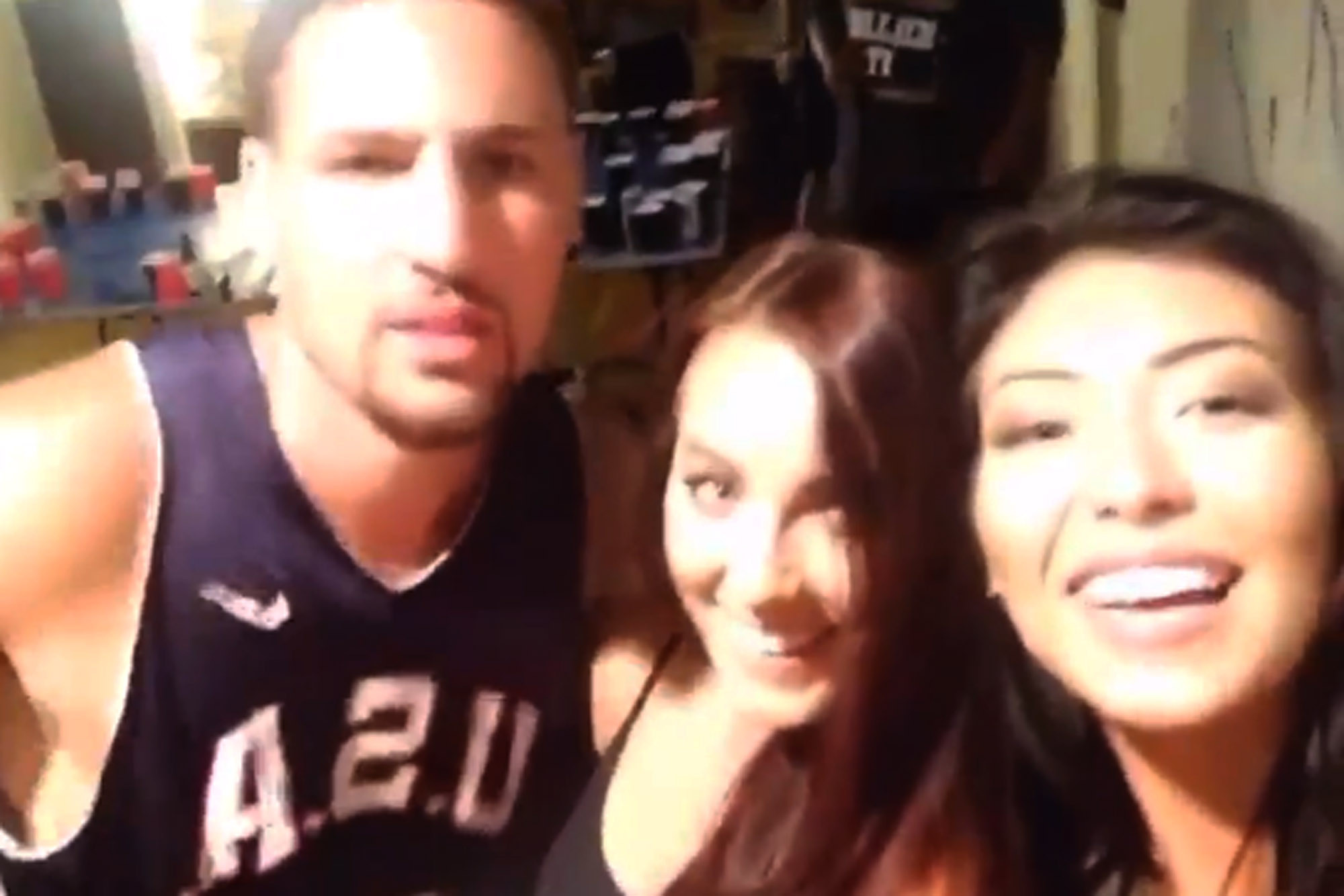 Klay Thompson taking a selfie with his rumored wife Cherise Sandra.