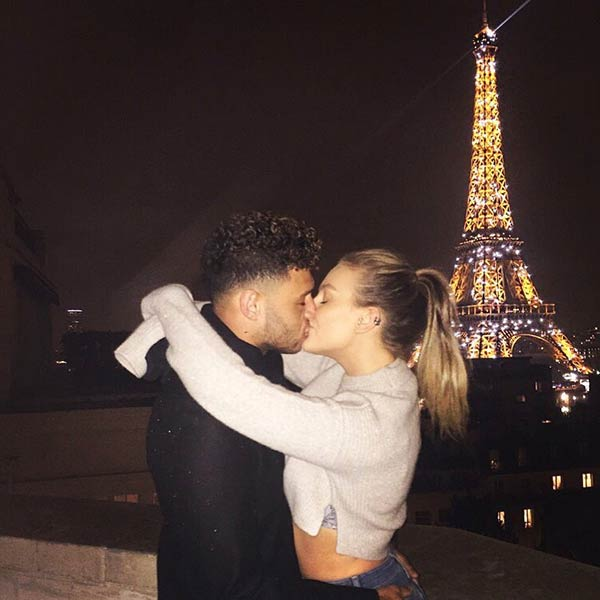 Perrie Edwards kissing her curring boyfriend Alex Oxlade Chamberlian