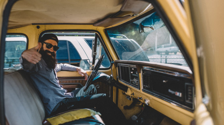 Aaron Kaufman in the drivers seat