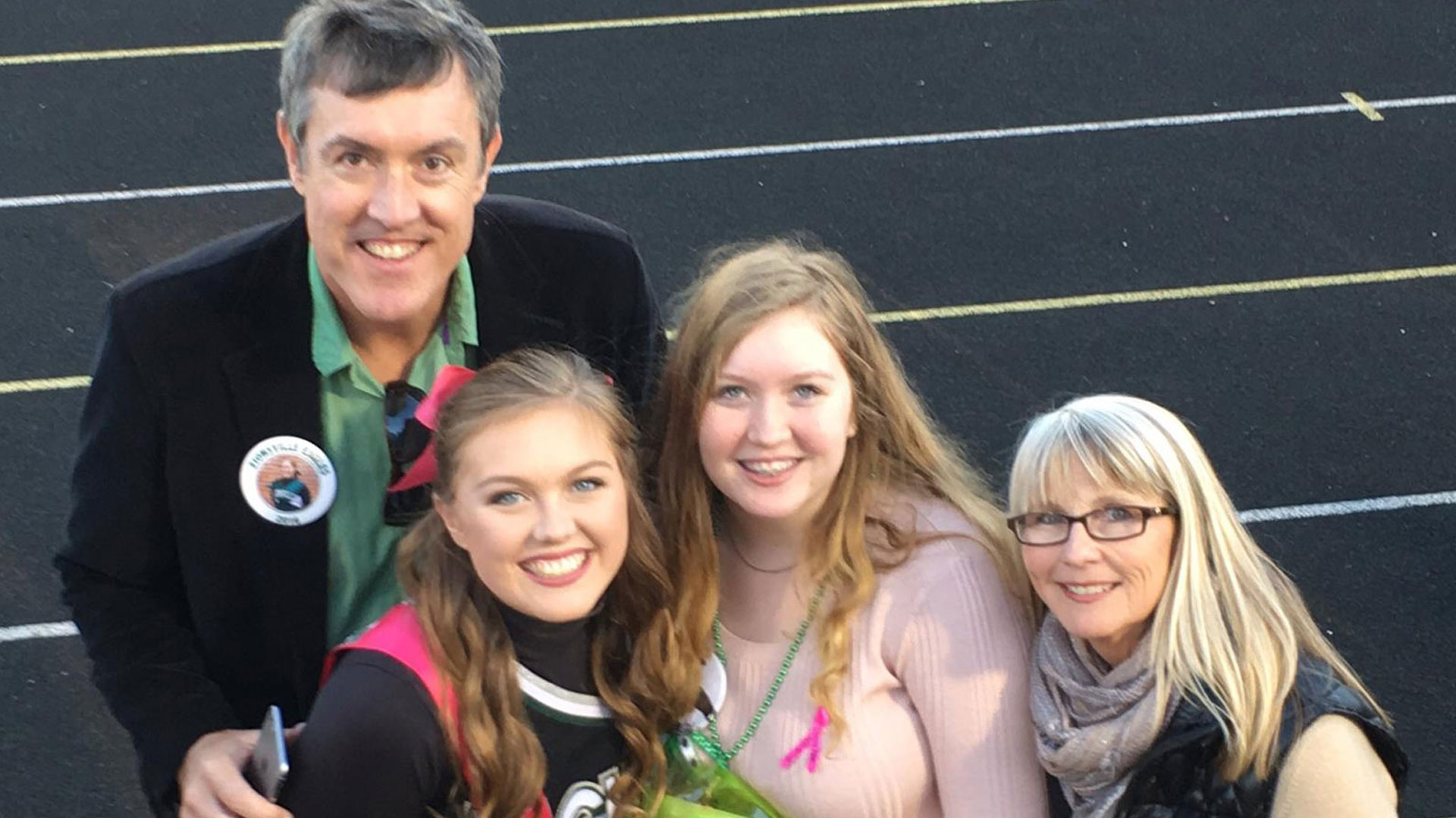 Radio host Kristi Lee with her ex-husband and two daughters.