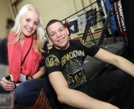 Nate Diaz and girlfriend Misty Brown at Diaz's workout place
