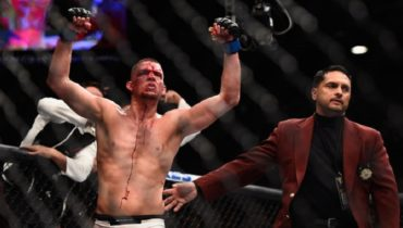 Nate Diaz celebrating his win over Conor McGregor at UFC 196